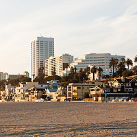 Santa Monica California office buildings and beach houses along Santa Monica State Beach Park in Los Angeles County Southern California.
