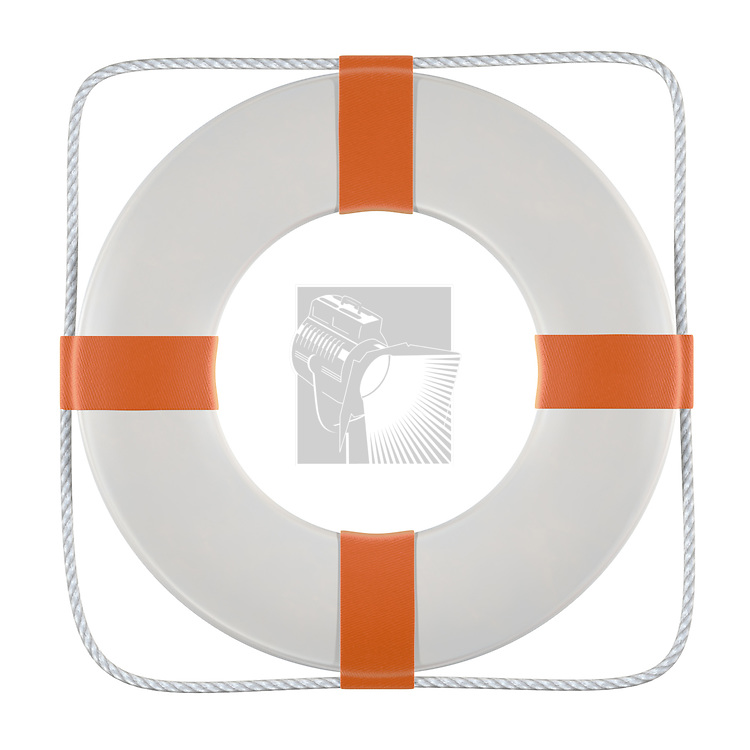 A white and orange lifesaver including clipping path.