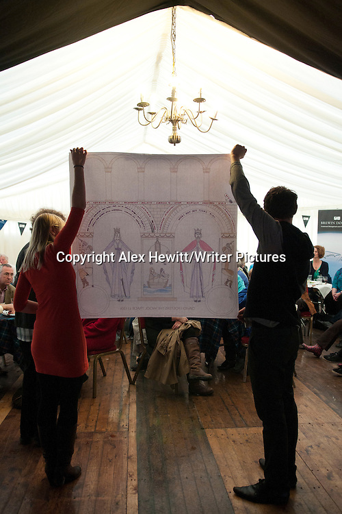 Great Tapestry of Scotland project at the Borders Book Festival 2012.Harmony House in Melrose, The Scottish Borders..pictures by Alex Hewitt/Writer Pictures