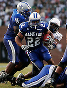 "Hampton running back Alonzo Coleman rushed for 172 yards in their blowout over Howard in the ""2006 Battle for the Real HU"" at Armstrong Stadium in Hampton, Virginia.  Hampton won 46-7.  September 09, 2006  (Photo by Mark W. Sutton)"