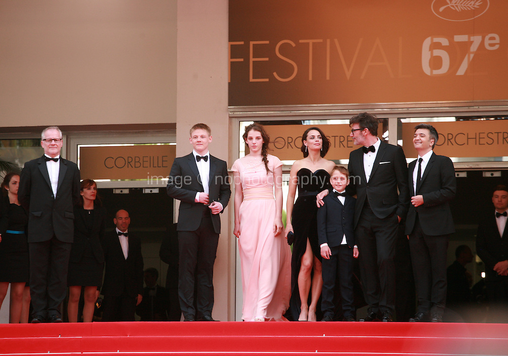 Maxim Emelianov, Zukhra Duishvili, Abdul Khlim Mamamtsuiev, Michel Hazanavicius, Berenice Bejo and Thomas Langmann at The Search gala screening red carpet at the 67th Cannes Film Festival France. Tuesday 20th May 2014 in Cannes Film Festival, France.
