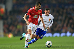 12th September 2017 - UEFA Champions League - Group A - Manchester United v FC Basel - Henrikh Mkhitaryan of Man Utd battles with Taulant Xhaka of Basel - Photo: Simon Stacpoole / Offside.