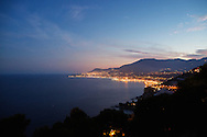 Ventimiglia, italy - A view of the town of Menton seen from the town of Ventimiglia on the italian-french border.