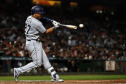 SAN FRANCISCO, CA - SEPTEMBER 24: Francisco Mejia #27 of the San Diego Padres at bat against the San Francisco Giants during the third inning at AT&T Park on September 24, 2018 in San Francisco, California. The San Diego Padres defeated the San Francisco Giants 5-0. (Photo by Jason O. Watson/Getty Images) *** Local Caption *** Francisco Mejia