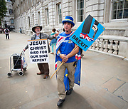Steve Bray, Anti-Brexit activist demonstrates outside the Cabinet Office in Whitehall, London, Great Britain <br />