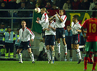 Fotball<br /> Treningskamp - Privatlandskamp<br /> 17.02.2004<br /> Portugal v England<br /> Foto: Digitalsport<br /> NORWAY ONLY<br /> <br /> The England wall jumps, but Pauleta's free kick beats everyone for the equalizer