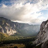 A veiw of Yosemite Valley while racing the sun down the trail from the top of Yosemite Falls.  © John McBrayer