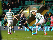 Dundee's Gary Irvine goes crashing to the floor under challenge from Celtic's Virgil van Dijk - Celtic v Dundee, SPFL Premiership at Celtic Park<br /> <br />  - &copy; David Young - www.davidyoungphoto.co.uk - email: davidyoungphoto@gmail.com
