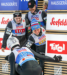 02.03.2019, Seefeld, AUT, FIS Weltmeisterschaften Ski Nordisch, Seefeld 2019, Skisprung, Mixed Team Bewerb, im Bild v.l. Andreas Stjernen (NOR), Anna Odine Stroem (NOR), Robert Johansson (NOR), Maren Lundby (NOR) // f.l. Andreas Stjernen of Norway Anna Odine Stroem of Norway Robert Johansson of Norway Maren Lundby of Norway during the mixed team competition in ski jumping of nordic combination of FIS Nordic Ski World Championships 2019. Seefeld, Austria on 2019/03/02. EXPA Pictures © 2019, PhotoCredit: EXPA/ JFK