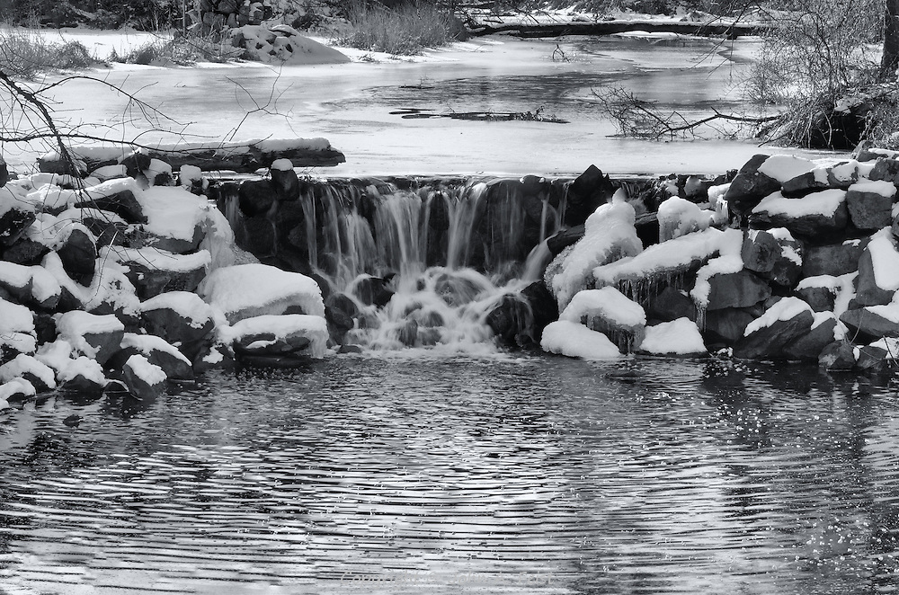 The day after the storm, the snow has helped the falls to flow.  This is one of several shots of this scene at Duke Farms
