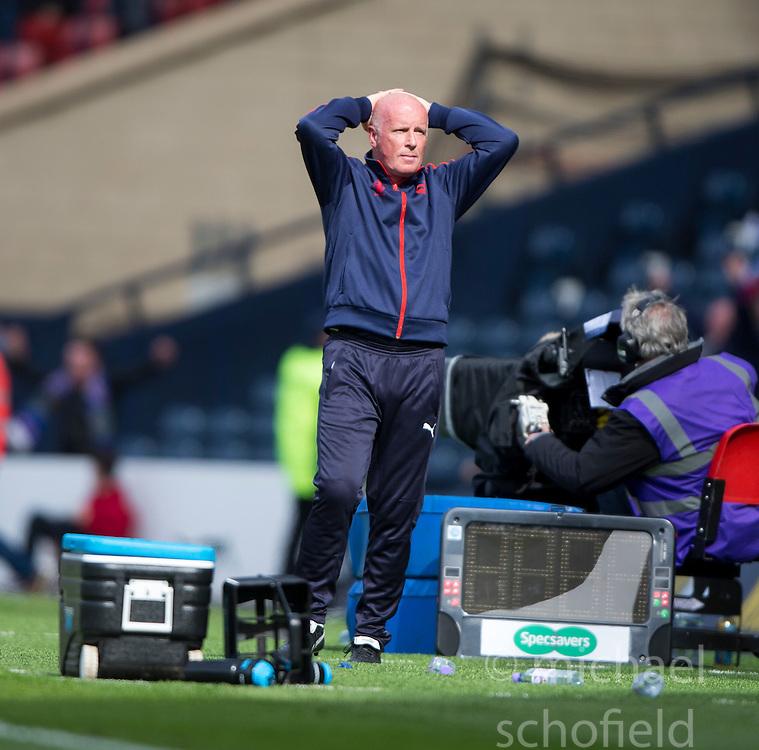 Falkirk's manager Peter Houston after Inverness Caledonian Thistle's James Vincent scored their second goal. Falkirk 1 v 2 Inverness CT, Scottish Cup final at Hampden.
