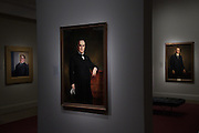 Presidential portraits at the National Portrait Gallery art museum, part of the Smithsonian Institution housed in the historic Old Patent Office Building in Washington, DC.