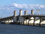 The old Bridge of Lions in downtown St. Augustine, Florida. This beautiful draw bridge connected St. Augustine to Anastasia Island. It was dismantled in 2005 and will be rebuilt by the end of 2010. A temporary bridge has been built beside the original bridge.