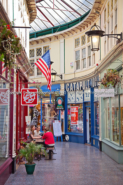 High Street Arcade with people<br /> Cardiff<br /> South <br /> Towns and Villages