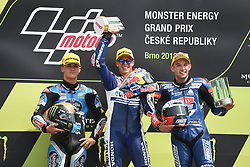 August 5, 2018 - Brno, Brno, Czech Republic - 21 Italian driver Fabio Di Giannantonio of Team Del Conca Gresini,  44 Spanish driver Aron Canet of Team Estrella Galicia 0,0 and  84 Czech driver Jakub Kornfeil of Team Pruestl GP during podium in Brno Circuit for Czech Republic Grand Prix in Brno Circuit on August 5, 2018 in Brno, Czech Republic. (Credit Image: © Andrea Diodato/NurPhoto via ZUMA Press)