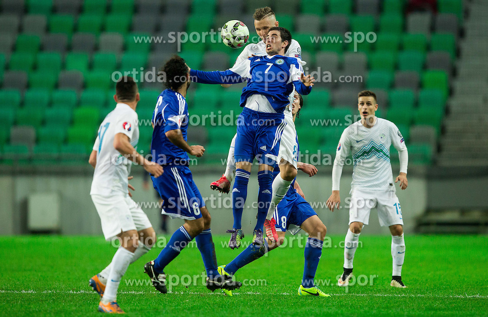 Jose Hirsch of San Marino vs Jasmin Kurtic of Slovenia during football match between NationalTeams of Slovenia and San Marino in Round 5 of EURO 2016 Qualifications, on March 27, 2015 in SRC Stozice, Ljubljana, Slovenia. Photo by Vid Ponikvar / Sportida