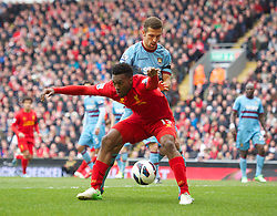 07.04.2013, Anfield, Liverpool, ENG, Premier League, FC Liverpool vs West Ham United, 32. Runde, im Bild Liverpool's Daniel Sturridge in action against West Ham United during during the English Premier League 32th round match between Liverpool FC and West Ham United FC at Anfield, Liverpool, Great Britain on 2013/04/07. EXPA Pictures © 2013, PhotoCredit: EXPA/ Propagandaphoto/ David Rawcliffe..***** ATTENTION - OUT OF ENG, GBR, UK *****