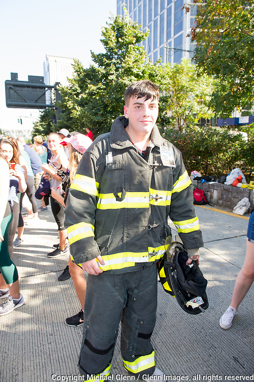 24 Sep 2017 Manhattan, New York United States of America // Stephen Siller Jr, son of Stephen Siller at the finish line of the Tunnel to Towers run at the World Trade Center site  Michael Glenn  /