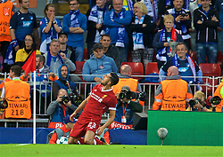 LIVERPOOL, ENGLAND - Wednesday, August 23, 2017: Liverpool's Emre Can celebrates scoring the first goal during the UEFA Champions League Play-Off 2nd Leg match between Liverpool and TSG 1899 Hoffenheim at Anfield. (Pic by David Rawcliffe/Propaganda)
