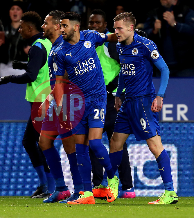 Jamie Vardy of Leicester City celebrates with Riyad Mahrez of Leicester City after scoring a goal - Mandatory by-line: Robbie Stephenson/JMP - 27/02/2017 - FOOTBALL - King Power Stadium - Leicester, England - Leicester City v Liverpool - Premier League