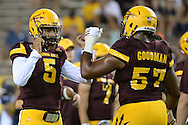 TEMPE, AZ - SEPTEMBER 03:  Quarterback Manny Wilkins #5 and <br /> offensive lineman Evan Goodman #57 of the Arizona State Sun Devils prior to the game against the Northern Arizona Lumberjacks at Sun Devil Stadium on September 3, 2016 in Tempe, Arizona. The Sun Devils won 44-13.  (Photo by Jennifer Stewart/Getty Images)