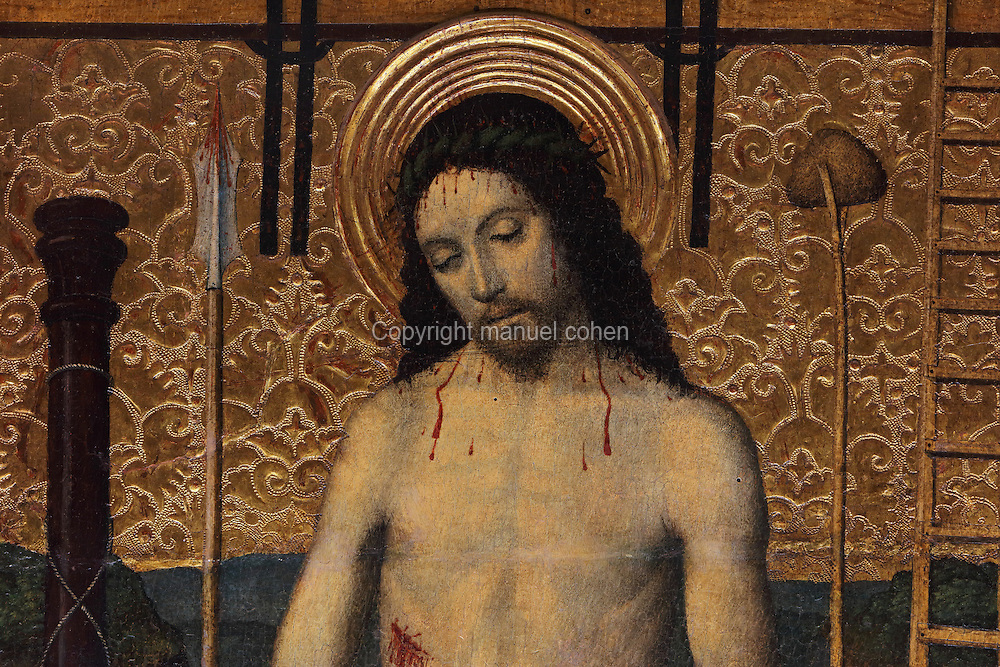 Painted panel of Christ of Sorrows, surrounded by the instruments of the Passion, detail, from the lower section of the Altarpiece of the Transfiguration of Christ, late 15th century, by Jaume Huguet, 1412-92, in the Cathedral of St Mary, designed by Benito Dalguayre in Catalan Gothic style and begun 1347 on the site of a Romanesque cathedral, consecrated 1447 and completed in 1757, Tortosa, Catalonia, Spain. The altarpiece was originally in the Transfiguration Chapel but is now in the Cathedral Museum. The cathedral has 3 naves with chapels between the buttresses and an ambulatory with radial chapels. Picture by Manuel Cohen