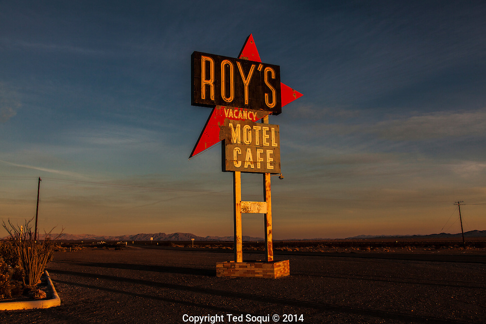 Roy's Cafe.<br /> U.S. Route 66, also known as the Mother Road, in the Mojave desert of California. The two major connector cites in the Mojave desert are Barstow and Amboy. U.S. Route 66 was the first major east west highway for the US, starting in Chicago, Il and ending in Santa Monica, CA. The 2,448 mile long highway was built in November 11,1926. Most of Route 66 has been decommissioned, but there are several parts that are now historically preserved.