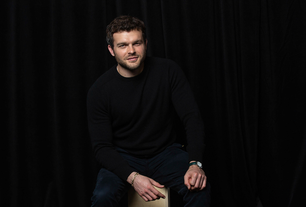 """Alden Ehrenreich poses for a portrait at the """"Solo: A Star Wars Story"""" Portrait Session on Saturday, May 12, 2018, in Pasadena, CA. (Photo by Willy Sanjuan/Invision/AP)"""