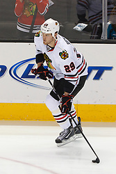 Feb 10, 2012; San Jose, CA, USA; Chicago Blackhawks left wing Bryan Bickell (29) warms up before the game against the San Jose Sharks at HP Pavilion. San Jose defeated Chicago 5-3. Mandatory Credit: Jason O. Watson-US PRESSWIRE