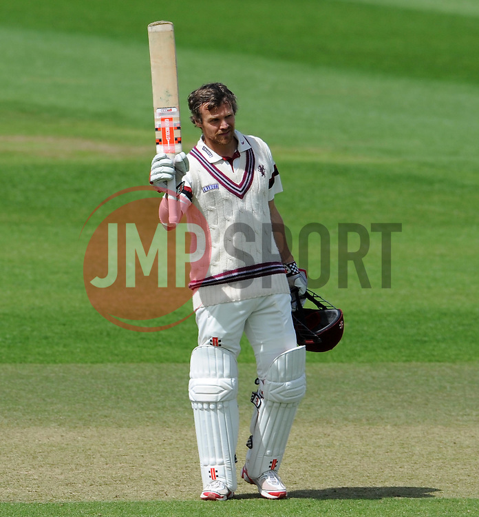 Somerset's James Hildreth celebrates his century. Photo mandatory by-line: Harry Trump/JMP - Mobile: 07966 386802 - 11/05/15 - SPORT - CRICKET - Somerset v New Zealand - Day 4 - The County Ground, Taunton, England.