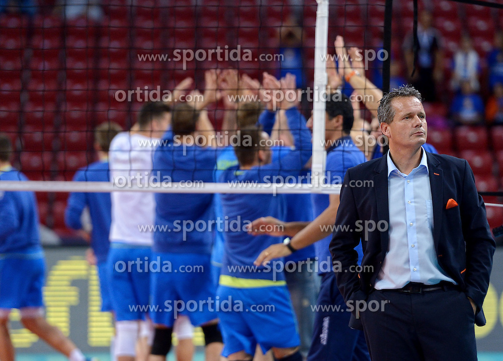 Coach of Netherlands Gido Vermeulen during volleyball match between National teams of Netherlands and Slovenia in Playoff of 2015 CEV Volleyball European Championship - Men, on October 13, 2015 in Arena Armeec, Sofia, Bulgaria. Photo by Ronald Hoogendoorn / Sportida