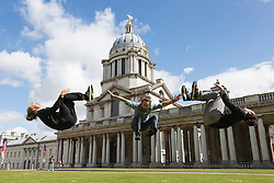 © Licensed to London News Pictures. 19/05/2015. London, UK. Members of the the Parkour Dance Company. Launch of The Royal Greenwich Festivals 2015 at the Old Royal Naval College, Greenwich.  Photo credit : Bettina Strenske/LNP
