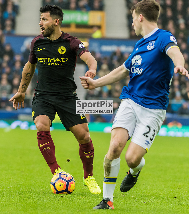 Manchester City forward Sergio Aguero (10) on the ball in the Premier League match between Everton and Manchester City<br /> <br /> (c) John Baguley | SportPix.org.uk