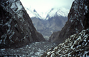 Hunza glacier, above Karimabad, Hunza valley on the Karakorum Highway, Northern Pakistan, Asia