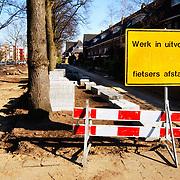 Wegwerkzaamheden Huizerweg Bussum, voetpad versperd