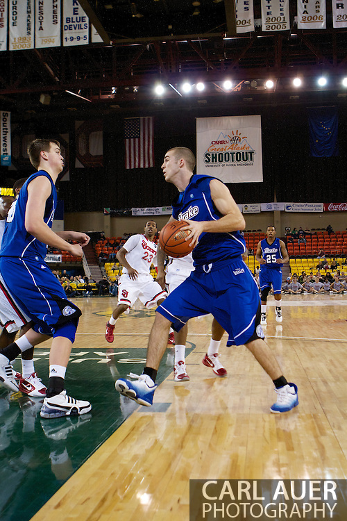 November 26th, 2010:  Anchorage, Alaska - Drake Bulldog sophomore forward Aaron Hawley (2) drives to the hoop in the Bulldog's loss to St. Johns at the Great Alaska Shootout.  The Red Storm defense held Drake to a tournament low score as St. Johns advanced to the final game 82-39.