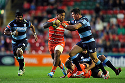 Manu Tuilagi (Leicester) takes on the Blues defence - Photo mandatory by-line: Patrick Khachfe/JMP - Mobile: 07966 386802 29/08/2014 - SPORT - RUGBY UNION - Leicester - Welford Road - Leicester Tigers v Cardiff Blues - Pre-Season Friendly