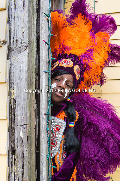 Naquan Pleasant of the Golden Eagles Mardi Gras Indians poses for a photo outside Big Chief Monk Boudreaux's home on February 28, 2017, in New Orleans, LA.  (Photo by Erika Goldring/Getty Images)