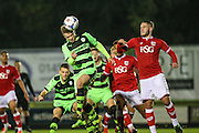 Forest Green Rovers Joe Stokes heads towards goal during the The County Cup match between Forest Green Rovers and Bristol City at the New Lawn, Forest Green, United Kingdom on 23 November 2015. Photo by Shane Healey.