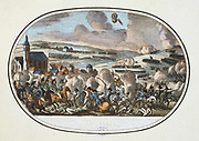 Battle of Fleurus, 26 June 1794. French under Jourdan defeated the Austrian army Josias von Saxe Coburg.  In the sky is the French balloon 'l'Entreprenant' .  This was the first used of a reconnaissance ballon for military purposes. Hand-coloured engraving.