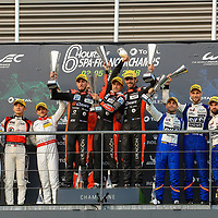 LMP2 Podium, #26, G-Drive Racing, Oreca 07 Gibson, LMP2, driven by: Roman Rusinov, Jean-Eric Vergne, Andrea Pizzitola#38, Jackie Chan DC Racing, driven by: Ho-Pin Tung, Gabriel Aubry, Stephane Richelmi#36, Signatech Alpine Matmut Alpine A470 Gibson, driven by: Nicolas Lapierre, Andre Negrao, Pierre Thiriet, FIA WEC 6hrs of Spa 2018, 05/05/2018,