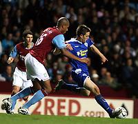 Photo: Mark Stephenson.<br /> Aston Villa v Leicester City. Carling Cup. 26/09/2007.Leicester's Matt Fryatt (R) holds off Villa's Zat Knight
