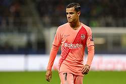 November 6, 2018 - Milan, Italy - Philippe Coutinho of Barcelona looks on during the Group B match of the UEFA Champions League between FC Internazionale and FC Barcelona on November 6, 2018 at San Siro Stadium in Milan, Italy. (Credit Image: © Mike Kireev/NurPhoto via ZUMA Press)