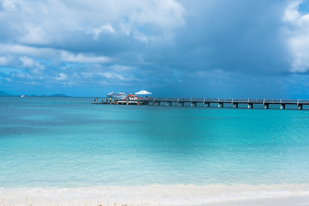 Yasawa-I-Rara, Fiji -- March 8, 2018. A pier used by tender boats from cruise ships to pick up and drop off passengers. Editorial Use Only.