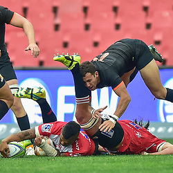 Johannesburg, SOUTH AFRICA, 21, MAY 2016 - during the Super Rugby match between Emirates Lions vs Jaguares ,Emirates Airlines Park,Johannesburg.<br /> Elton Jantjies of the Emirates Lions, Franco Mostert of the Emirates Lions and Joaquín Tuculet of the Jaguares. <br /> <br /> South Africa. (Photographer Christiaan Kotze ) -- (Steve Haag Sports) <br /> <br /> Images for social media must have consent from Steve Haag