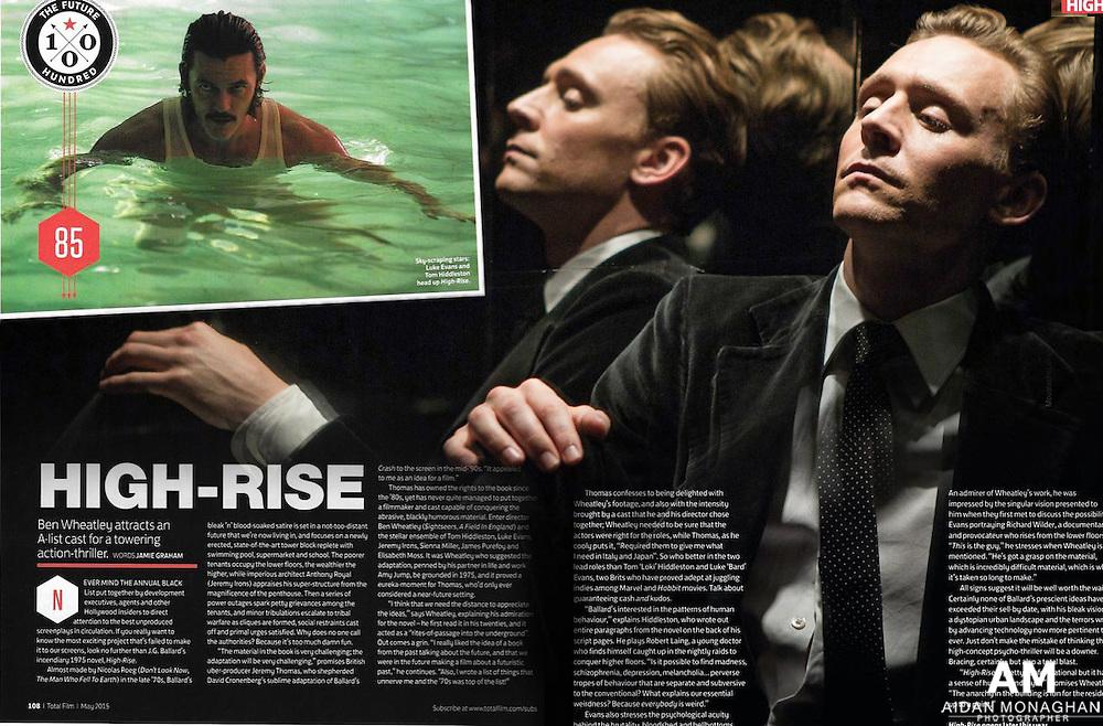 Total Film Magazine May 2015. High Rise Feature.  Tom Hiddleston, Luke Evans