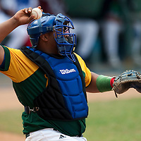 15 February 2009: Catcher Yosvany Peraza of the Occidentales throws the ball during a training game of Cuba Baseball Team for the World Baseball Classic 2009. The national team is pitted against itself, divided in two teams called the Occidentales and the Orientales. The Orientales win 12-8, at the Latinoamericano stadium, in la Habana, Cuba.