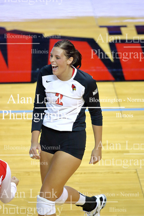 07 September 2011: Leighann Hranka is joyous after serving an ace during an NCAA volleyball match between the Leathernecks of Western Illinois  and the Illinois State Redbirds at Redbird Arena in Normal Illinois.