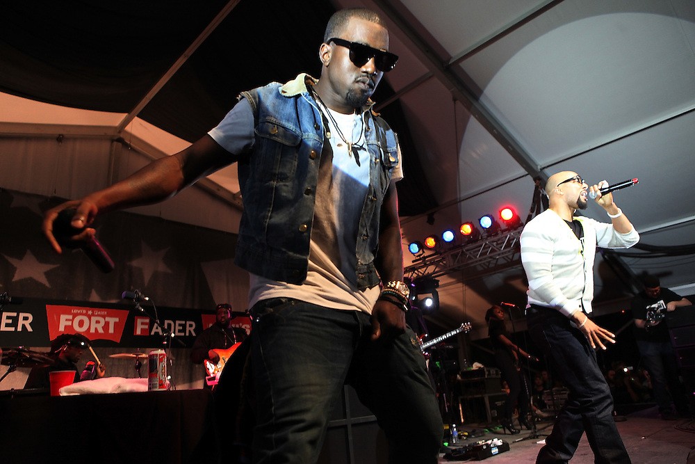 """AUSTIN, TX - MARCH 21:  Rappers Kanye West and  Common perform onstage at the """"G.O.O.D Music Showcase"""" at Levi's/Fader Fort on March 21, 2009 in Austin, Texas."""