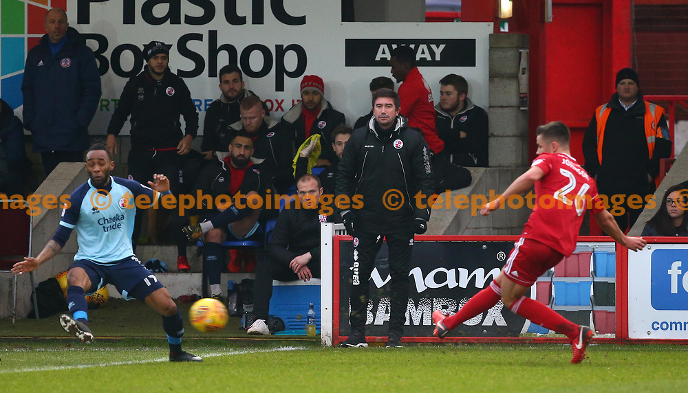 Crawley Town's head coach Harry Kewell looks on during the Sky Bet League 2 match between Accrington Stanley and Crawley Town at the Fraser Eagle Stadium in Accrington. 23 Dec 2017